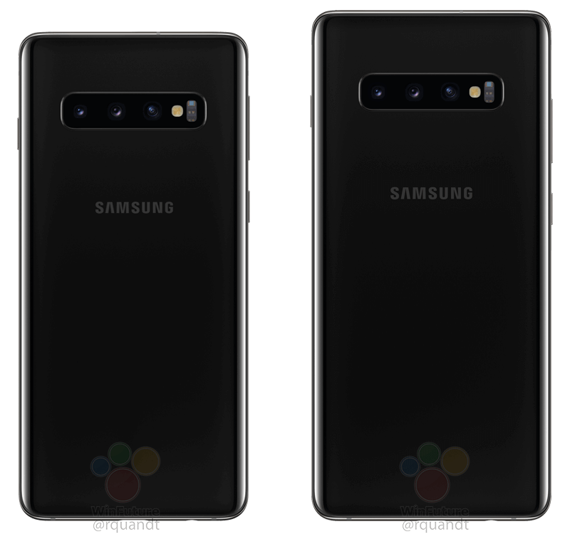 Samsung Galaxy S10 och Samsung Galaxy S10 Plus baksida